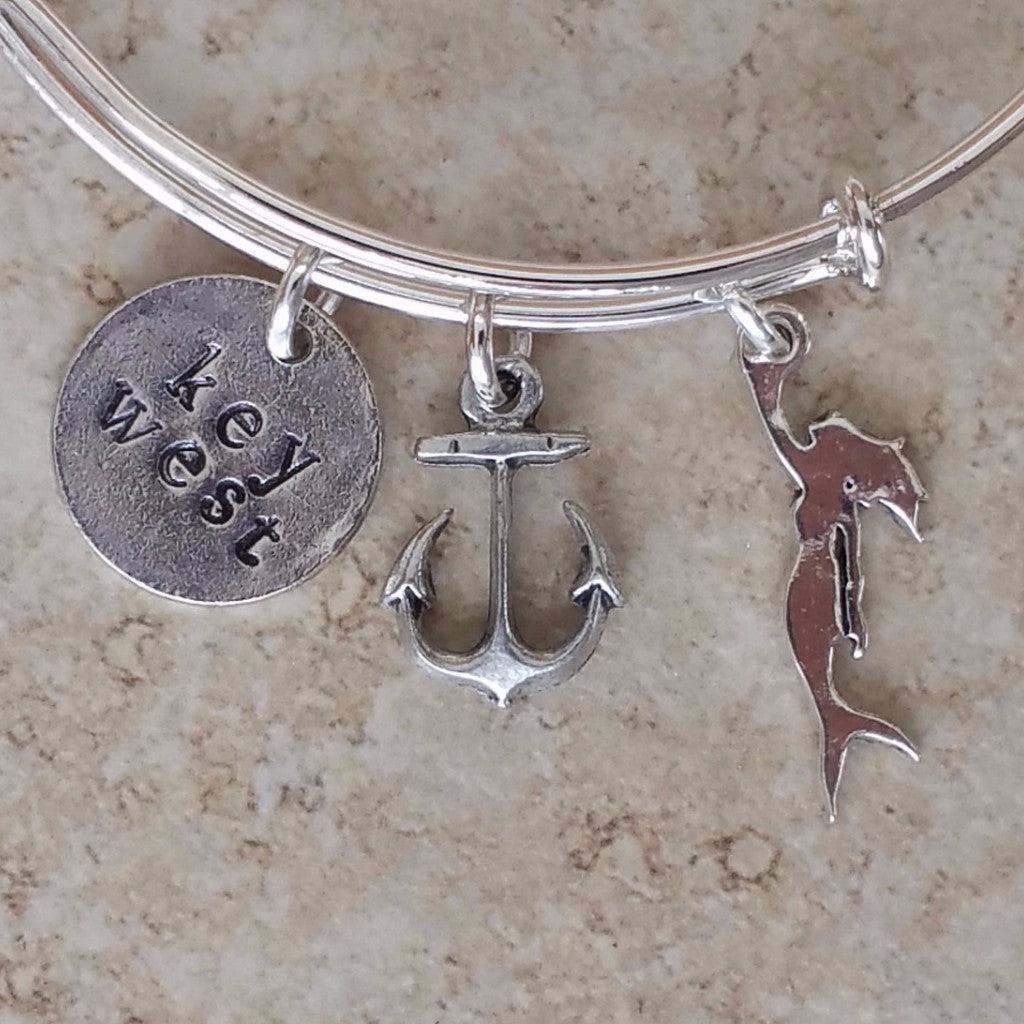 boat anchor mermaid key west charm bangle bracelet'