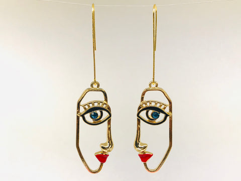 Picasso Face Earrings