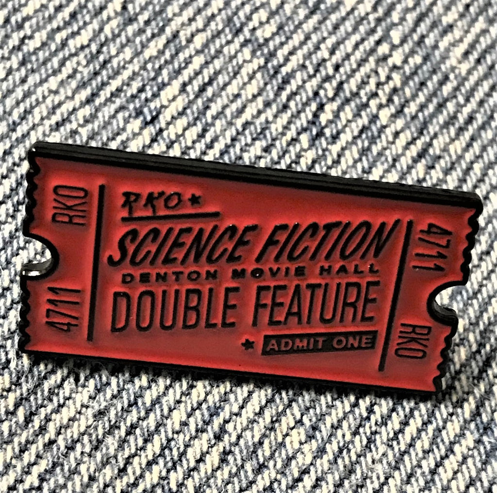 Red Science Fiction movie Ticket Admit one Enamel Pin