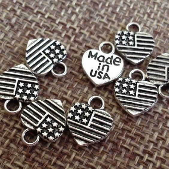15 American Flag Made in USA Charm
