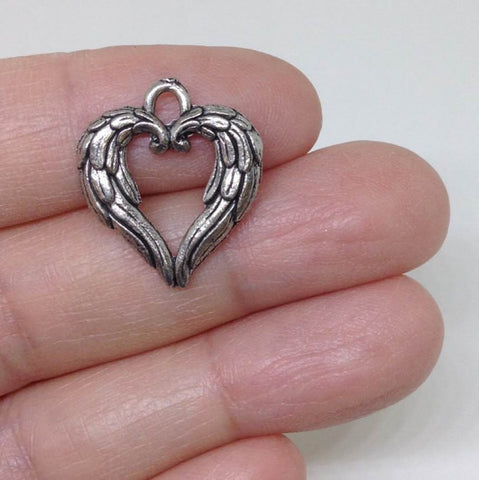 12 Angel Wing Heart Charms