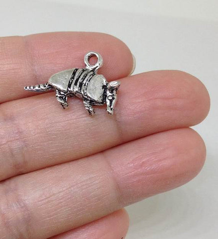 Armadillo charm, Animal Charm - 6 PIECES
