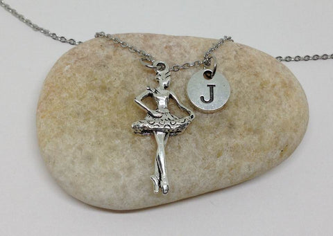 Ballet Dance Charm Personalized Initial Necklace