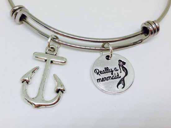 I am really a mermaid Bracelet, Really A Mermaid With Anchor Stainless Steel Bangle