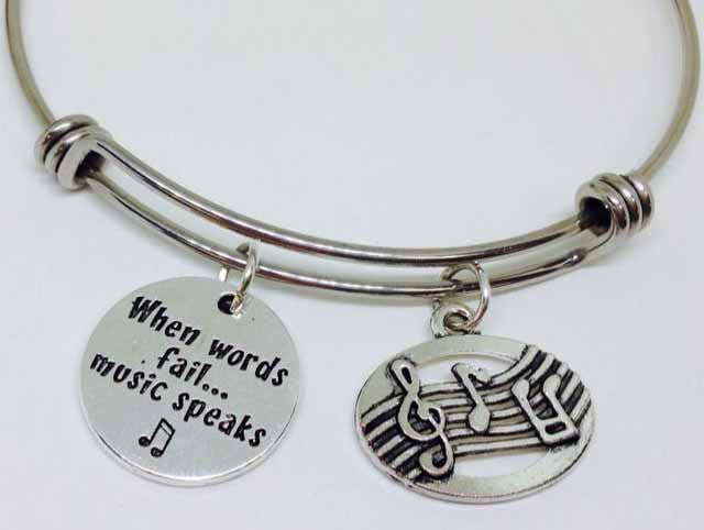 When Words Fail, Music Speaks With The Music Staff Stainless Steel Bangle