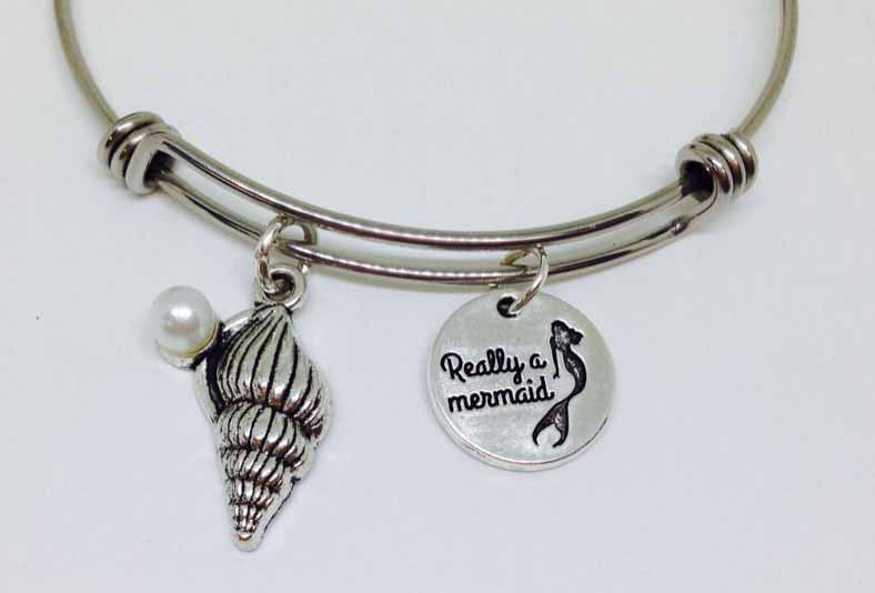 I am really a Mermaid Bangle, Really A Mermaid Stainless Steel Bracelet