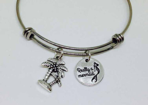 mermaid bracelet ocean beach palm tree