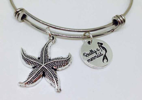 I am really a Mermaid Bangle, A Real Mermaid Stainless Steel Bracelet
