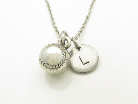 Baseball Necklace, Silver Baseball Softball Charm, Initial Necklace, Personalized Stamped Initial, Monogram Letter, Unisex Sports Charm
