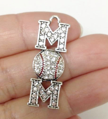 Baseball Mom Rhinestone Charms