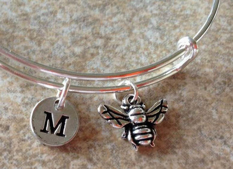 Bee  Charm Personalized Initial  Bangle