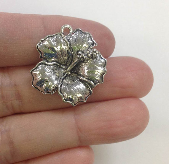 6 Big Hibiscus Flower charm, Flower Charm, Japanese Hibiscus Charm