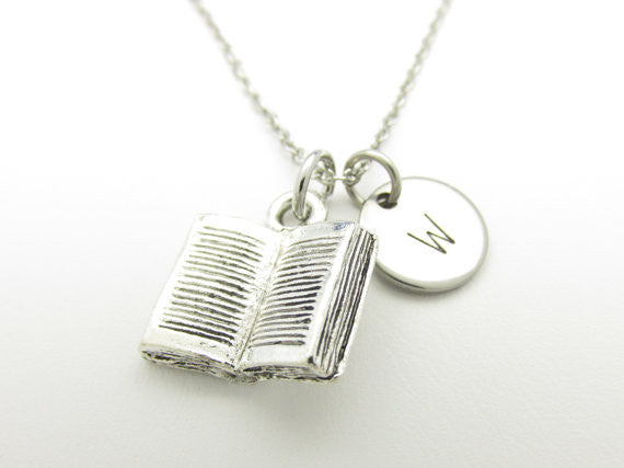 Book Necklace, Open Book Charm, Initial Necklace, Personalized, Stamped Initial Letter, Monogram Necklace, Bookworm Charm, Silver Book
