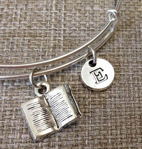 Book bangle, Open Book bracelet, Open Book Bangle personalized bracelet, Initial bracelet