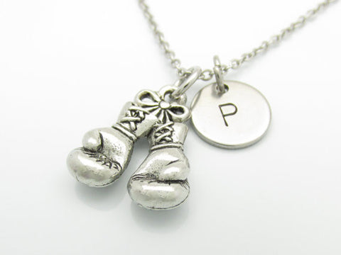 Boxing Gloves Necklace and Initial, Silver Boxing Glove Charm, Personalized Initial Necklace, Sports Charm, Stainless Steel Monogram