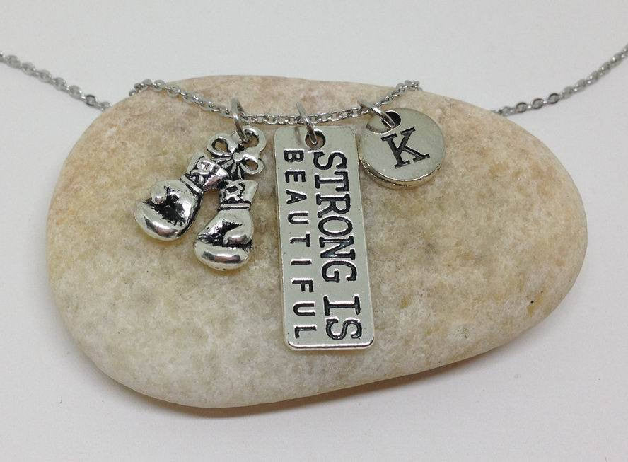 Boxing Strong is beautiful charm necklace