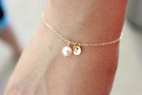 Flower Girl Best Friend Initial pearl Bracelet