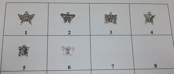6 Butterfly Charms, Insect Charm
