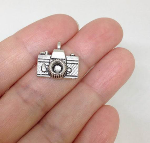 13pcs Camera Charms, silver plated, 15x14 mm