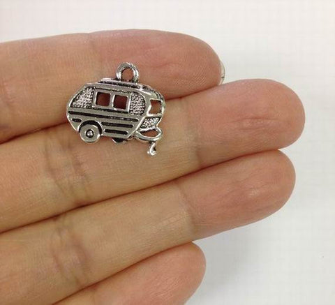 6 Camper Trailer Charms, Travel Charm,  Trailer Caravan Charm Gold Or Silver