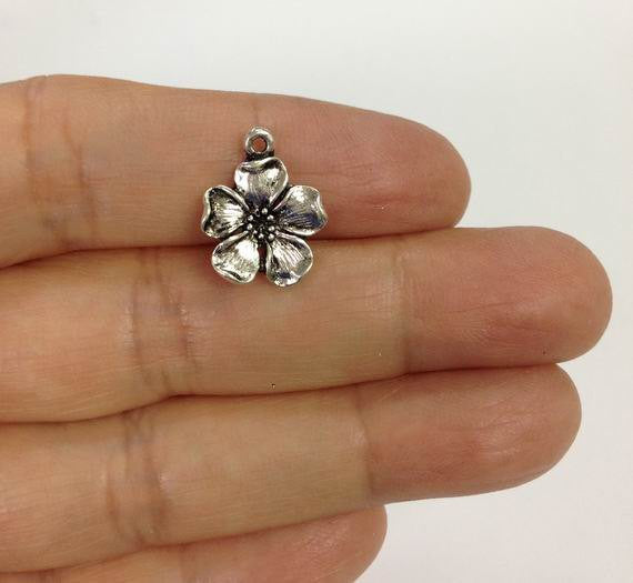 6 Wholesale Cherry Blossom Flower Charms, Flower charm