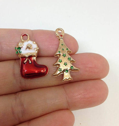 6 pcs Christmas Tree, Red Christmas Sock Stocking Charm