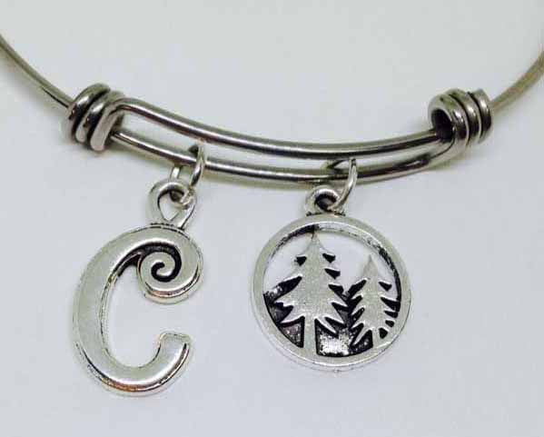 Pine Tree Personalized Stainless Steel Bangle