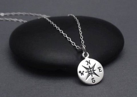 Compass Necklace, Compass Charm Pendant, Graduation Gift, Travel Jewelry, Good Luck