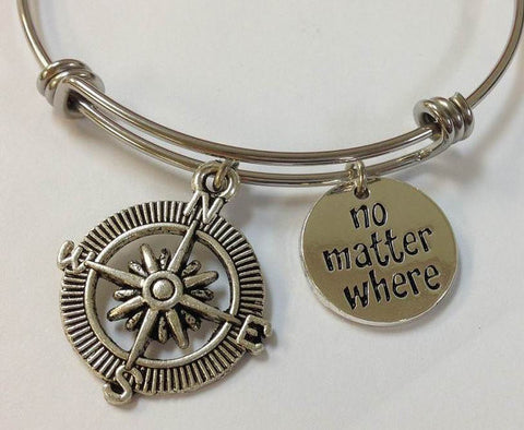 No Matter Where Bangle Bracelet, Compass Bracelet STAINLESS STEEL