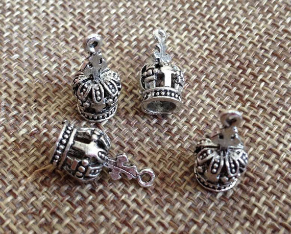 6 Crown charm, Antique Silver Tone
