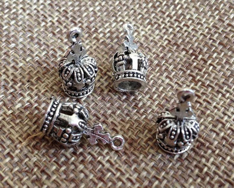 10pcs Crown charm, Antique Silver Tone