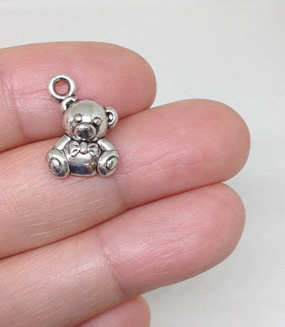 12 Cute Chubby Bear Charms, Teddy Bear charm