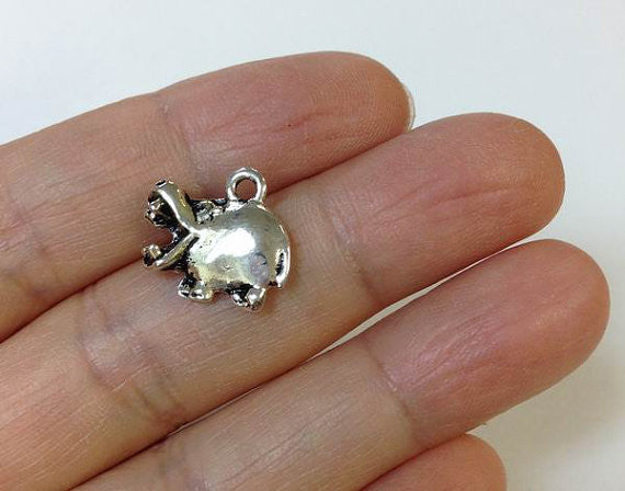 6 Cute Hippo Charms wholesale pewter charm