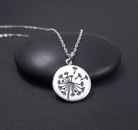 Dandelion Necklace Sterling Silver Dandelion Charm Pendant, Wish Necklace, Believe, Hope, Inspirational Jewelry, G