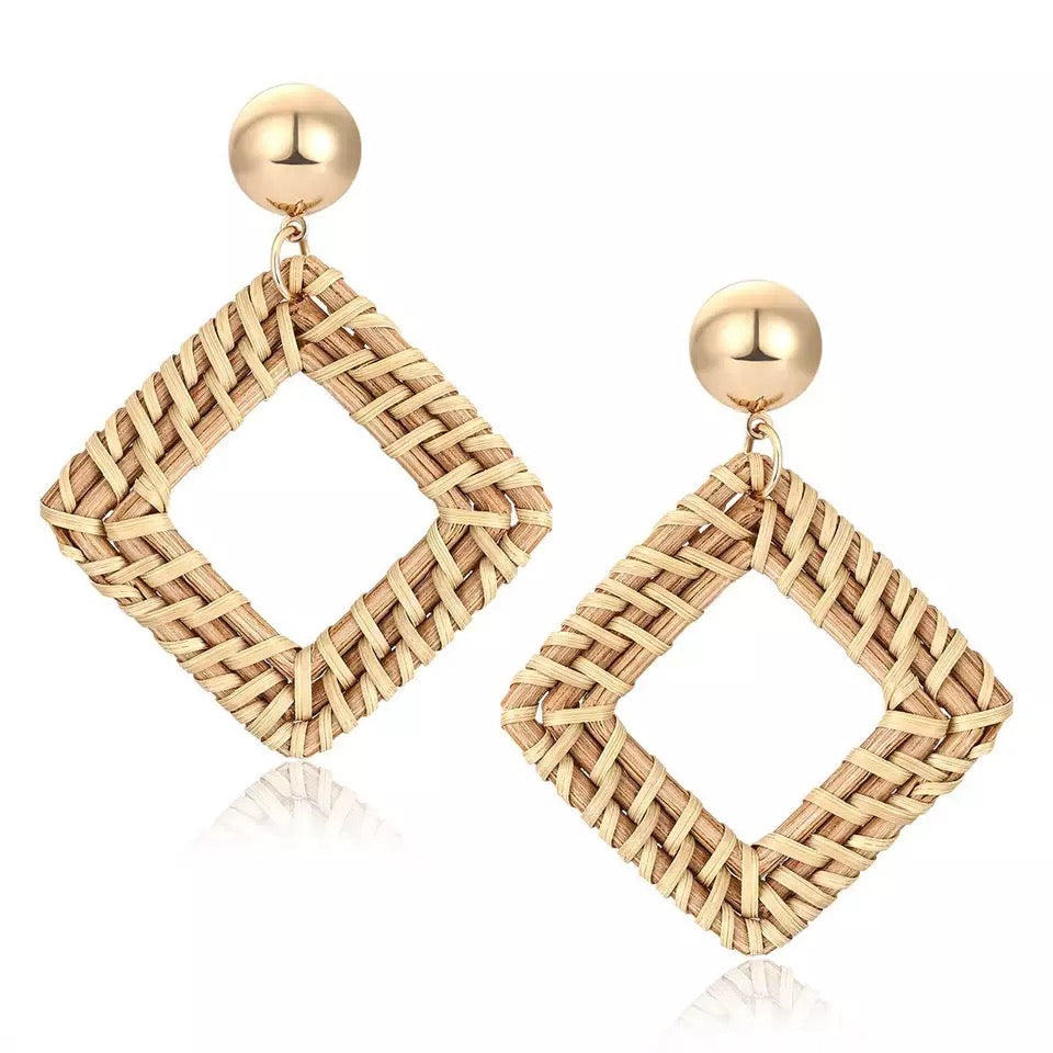 Diamond loop Weave Wicker Earrings