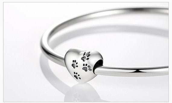 SALE - 925 Sterling Silver Dog Paw Charm to Fit Original Pandora Charm Bracelets. Gift idea for Christmas, Birthday.