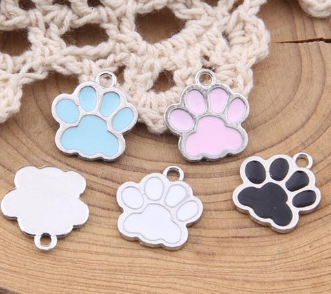 10 Pieces Enamel Dog Paw Charm