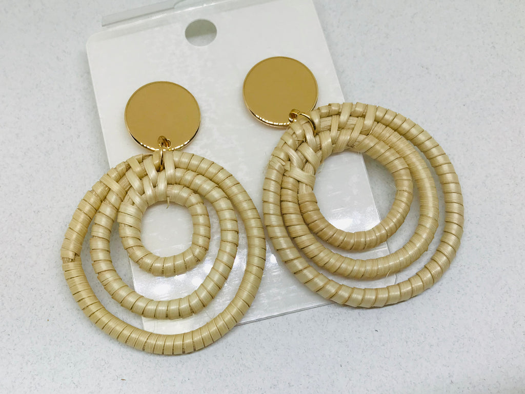 Rattan Triple loop Weave Wicker Earrings