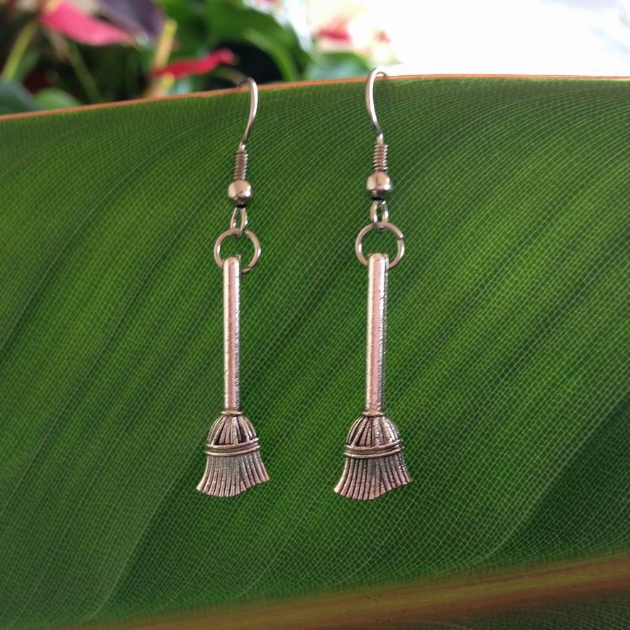 witch broom earring