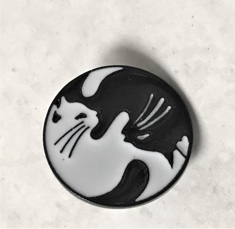 Black White Cat Enamel Pin Wholesale