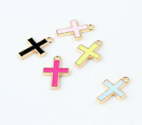 10pcs Enamel Cross Wholesale Charms