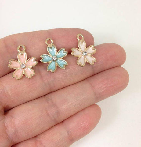 10pcs Enamel Forget Me Not Flower Charms Daisy Flower