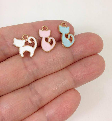 10 Enamel Kitty Cat Charm