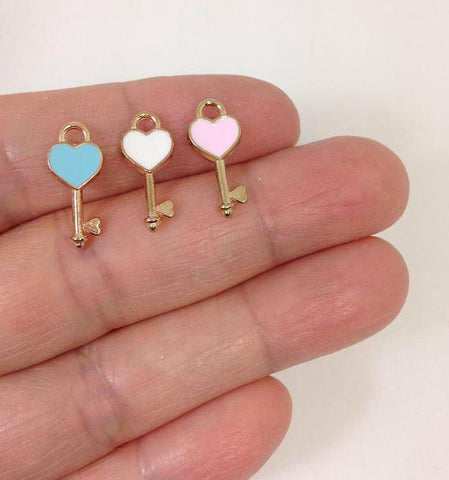 10pcs Enamel Love Heart Key Charms, Charm for Bracelet, Charm for necklace, Wholesale Charms