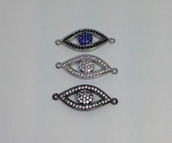 Micro Pave CZ Evil Eye Connector