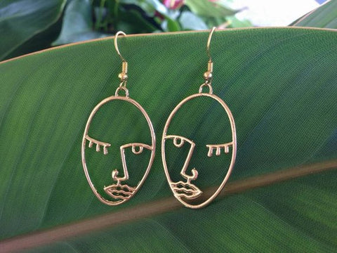 Picasso Face Earrings, Statement Earrings, Abstract Hollow Face Gift