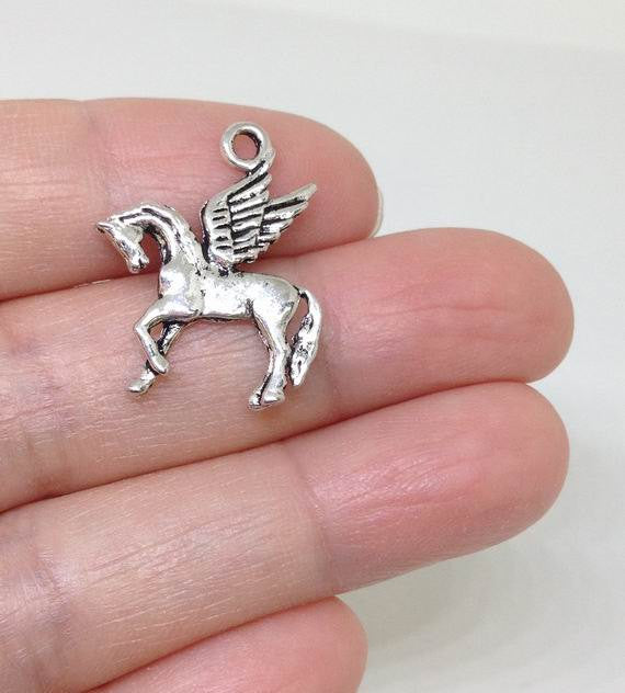 6 Flying Horse Charms, Pegasus charm, winged divine stallion charm