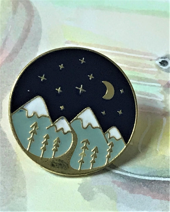 Forest Enamel Pin Gold
