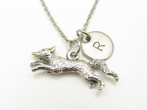 Fox Necklace, Silver Fox Charm, Running Fox, Personalized Initial Necklace, Animal Charm Jewelry, Wild Animals, Monogram Necklace