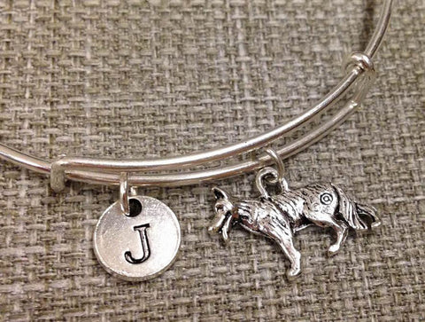 German Shepherd Personalized Initial Bangle